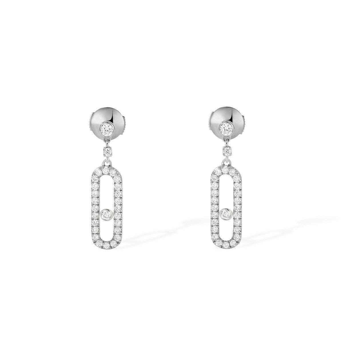 Move Uno Stud Earrings - White Gold