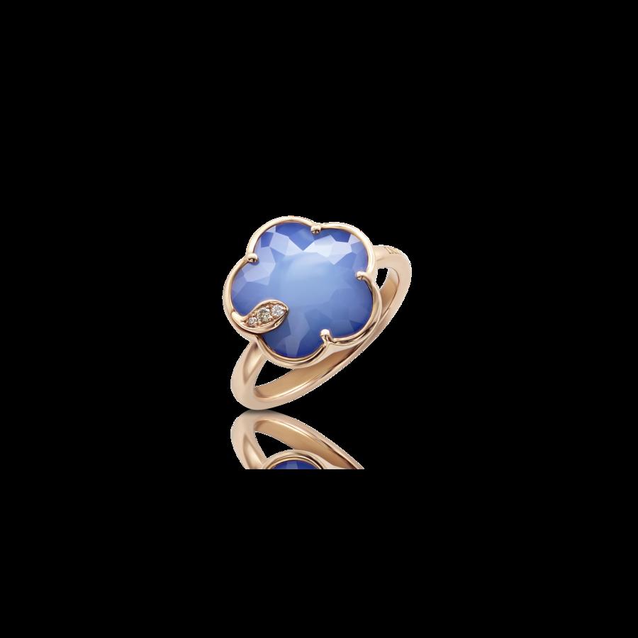 Ring Petit Joli' White Agate and Lapis Lazuli