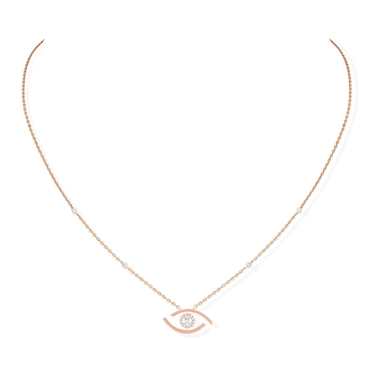 Lucky Eye Necklace - Pink Gold