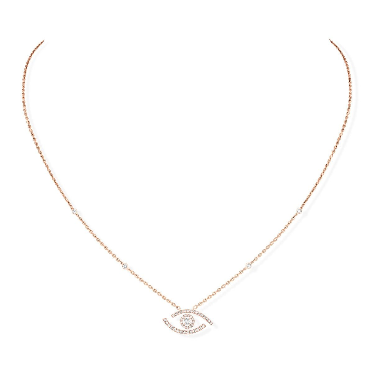 Lucky Eye Pavé Necklace - Pink Gold