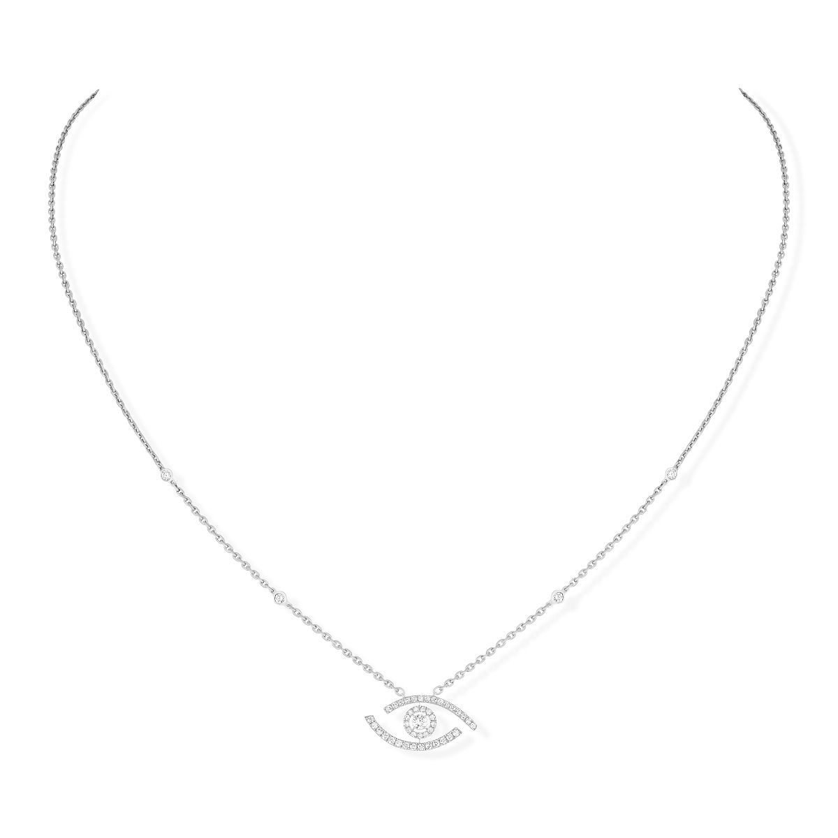 Lucky Eye Pavé Necklace - White Gold
