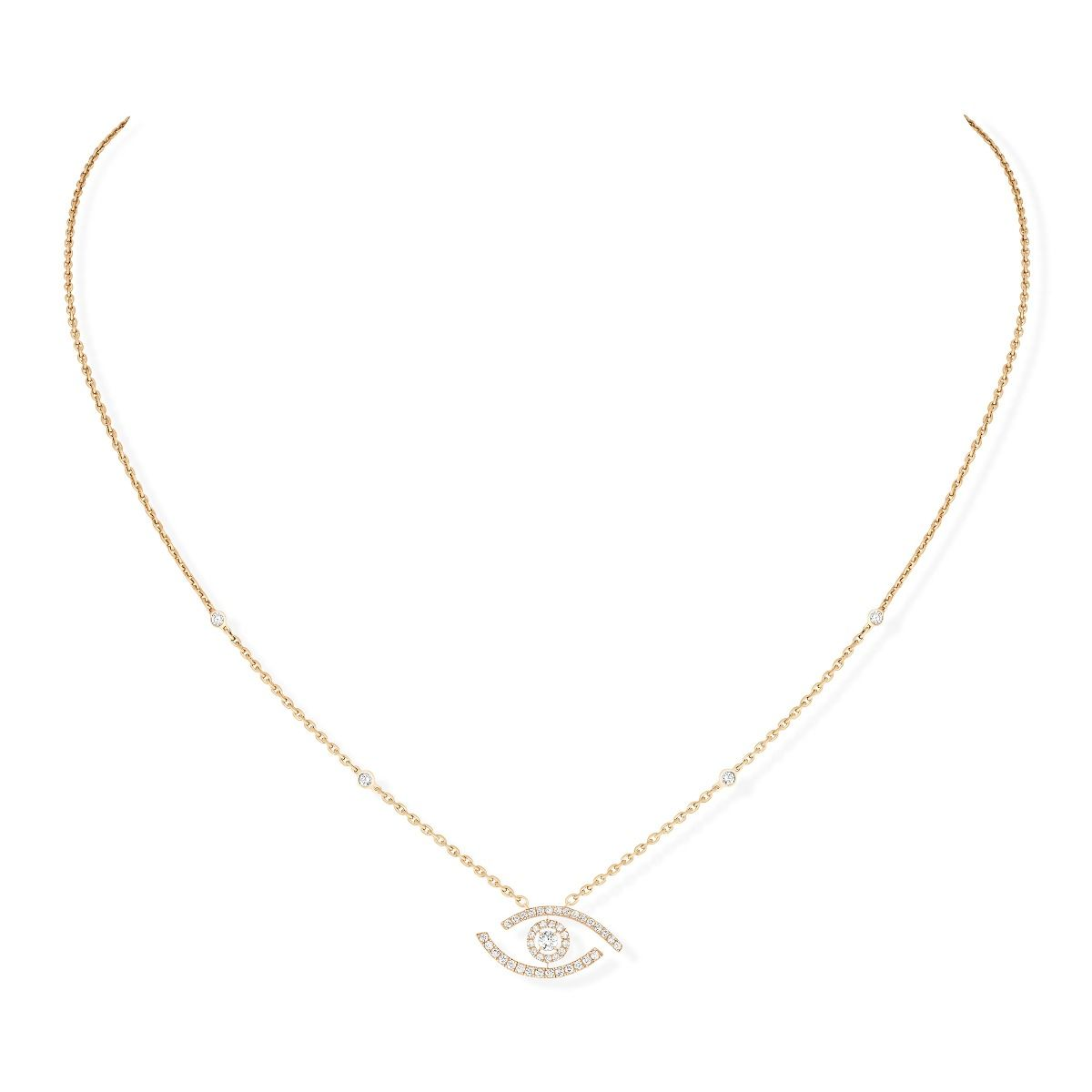 Lucky Eye Pavé Necklace - Yellow Gold