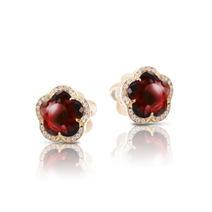 T'aime Earrings with Red Garnet