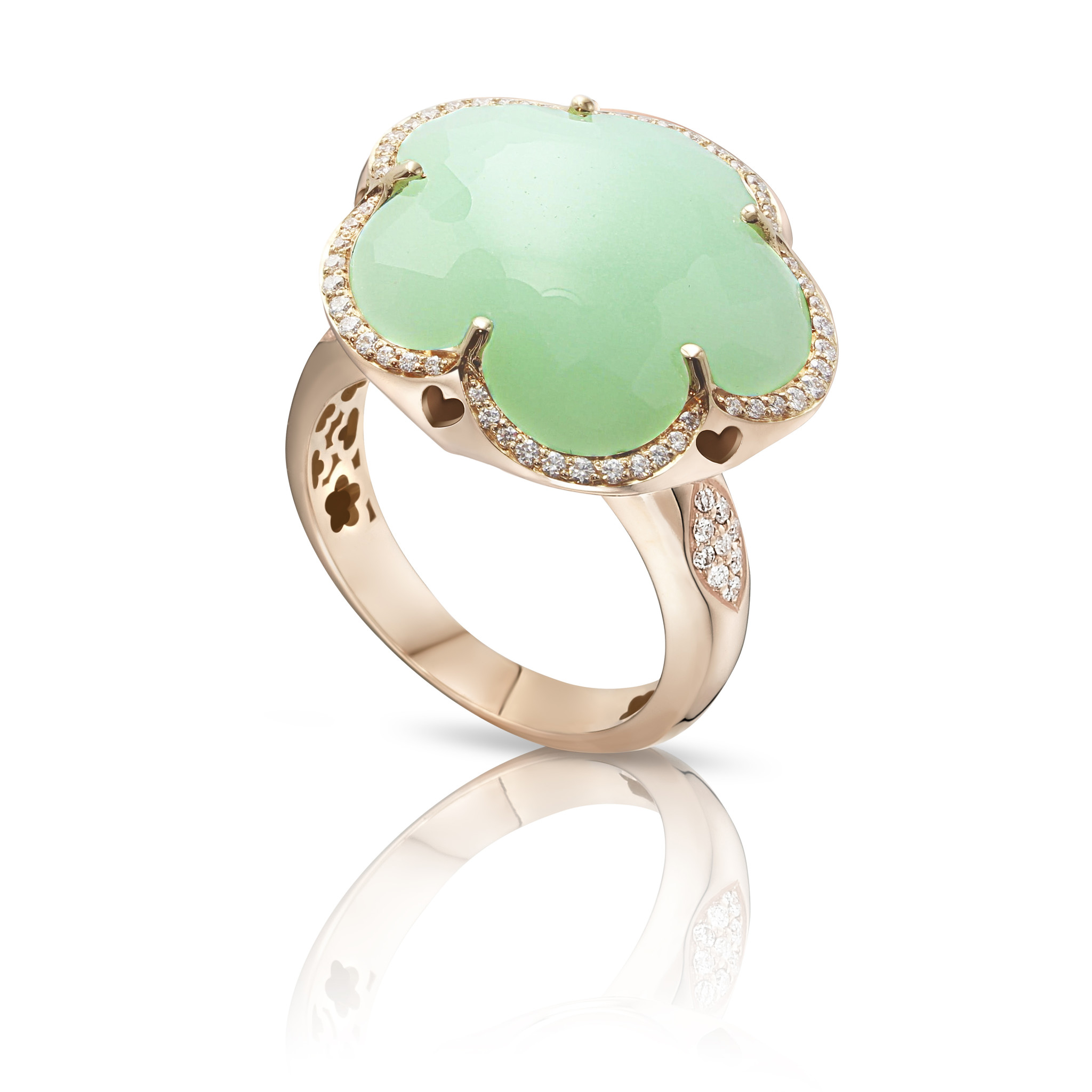 BON TON RING WITH LIGHT GREEN CHRYSOPRASE
