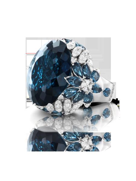 Ghirlanda Nefertiti Ring with London Blue Topaz and Diamonds