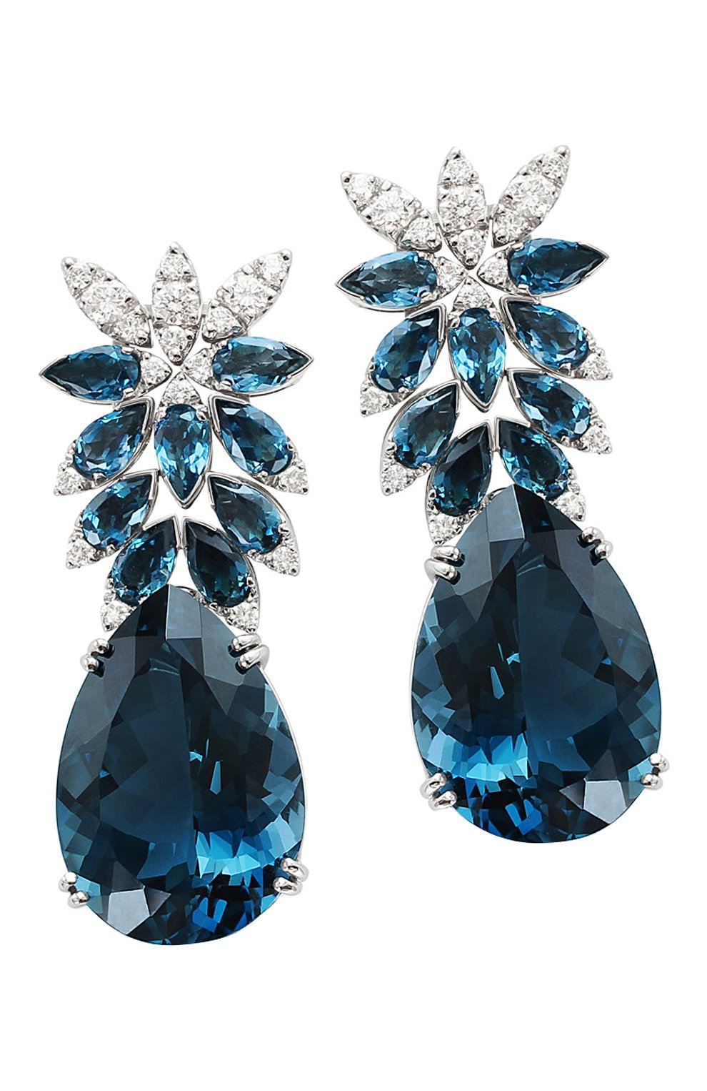GHIRLANDA NEFERTITI EARRINGS WITH LONDON BLUE TOPAZ AND DIAMONDS