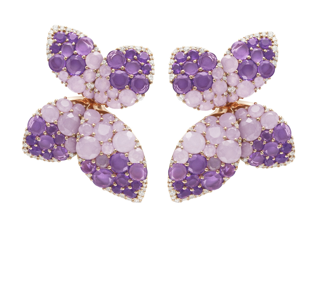 GIARDINI SEGRETI EARRINGS WITH AMETHYST, VIOLET JADE AND DIAMONDS