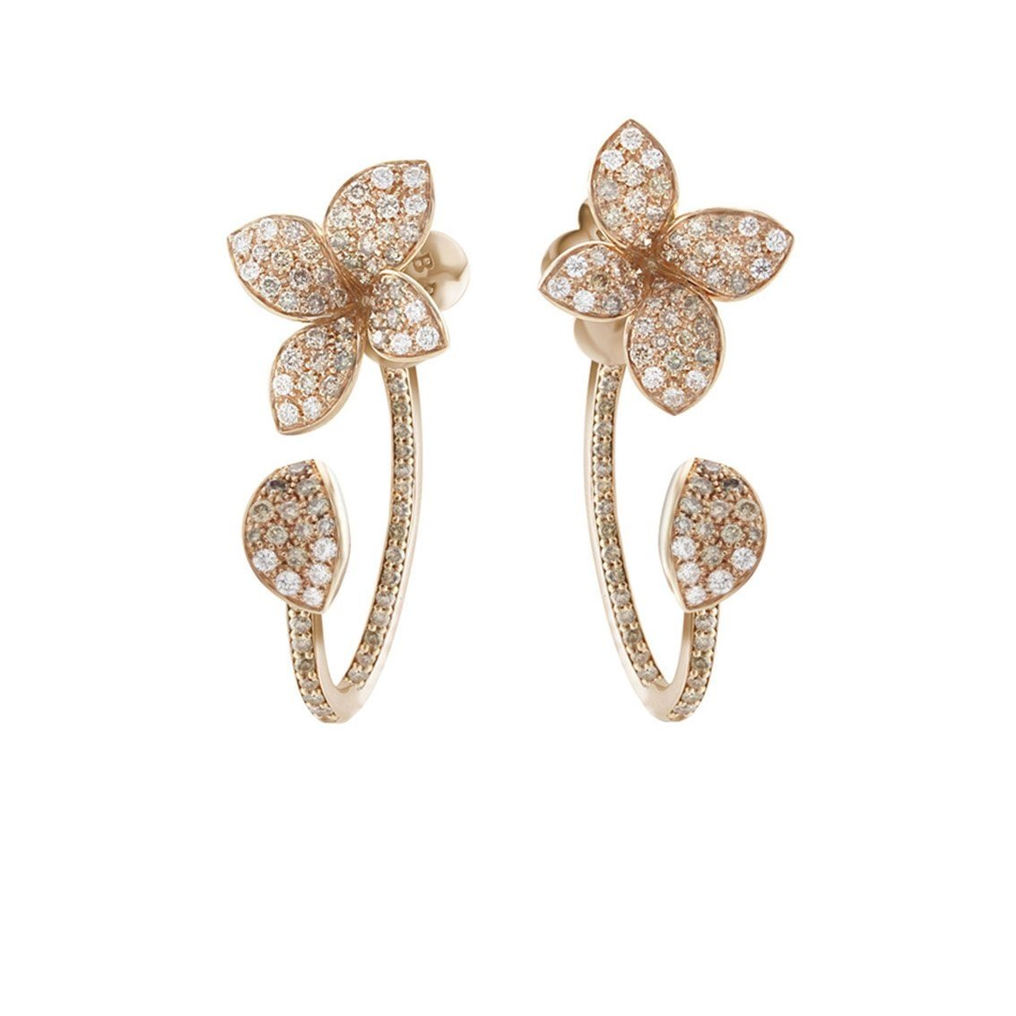 PETIT GARDEN EARRINGS WITH WHITE AND CHAMPAGNE DIAMONDS
