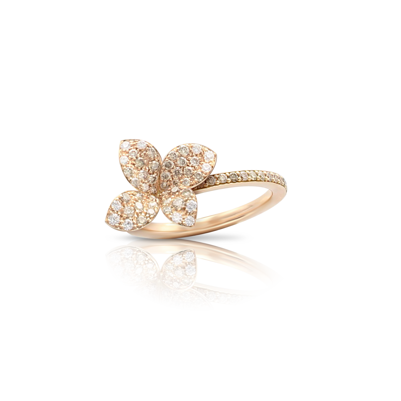 PETIT GARDEN RING WITH WHITE AND CHAMPAGNE DIAMONDS