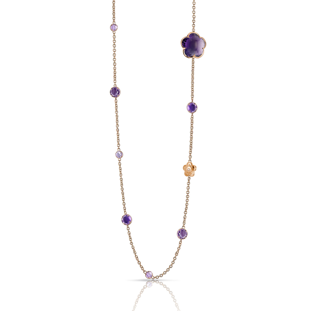 BON TON NECKLACE WITH LIGHT VIOLET, DEEP VIOLET AMETHYST AND DIAMONDS