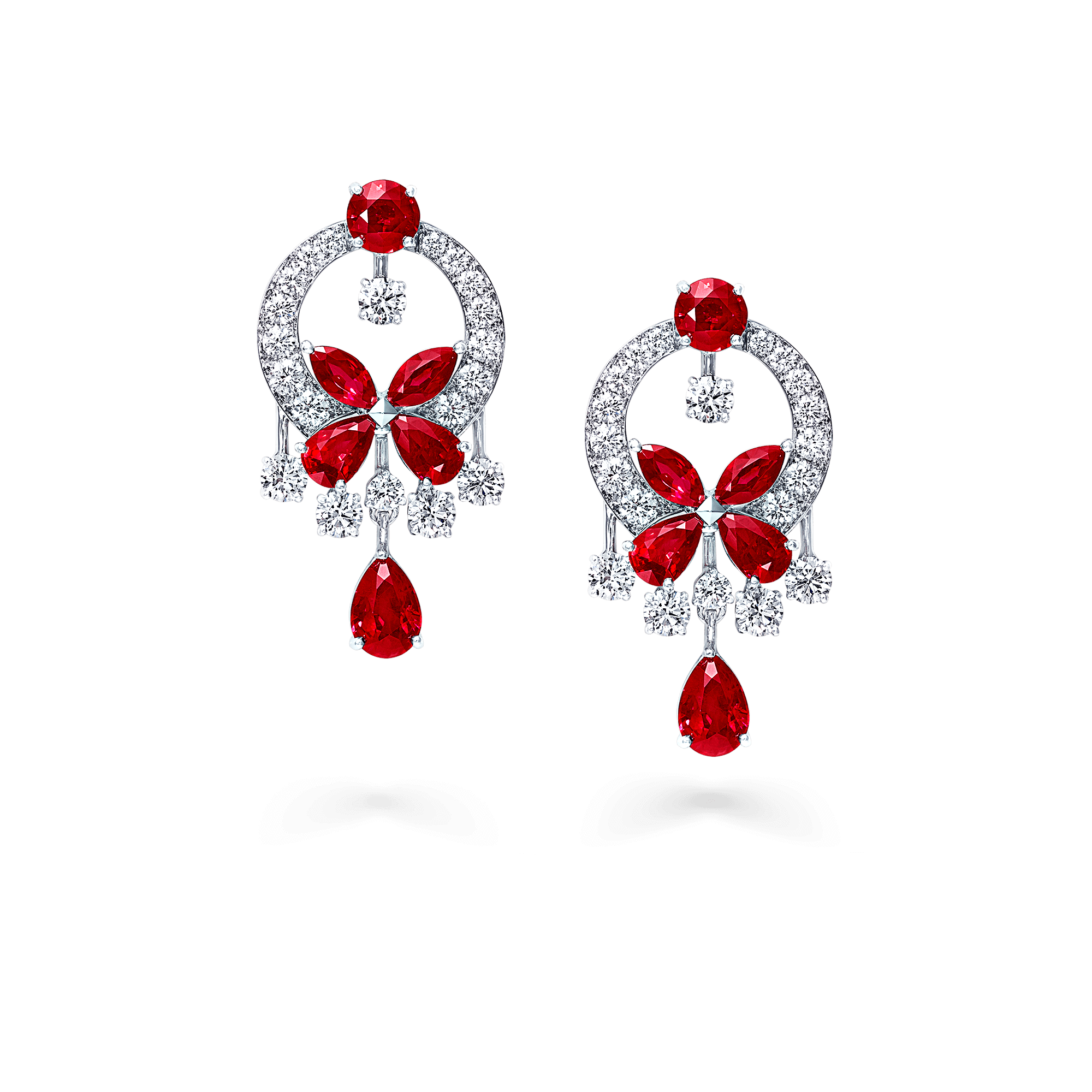 Earrings Butterfly Ruby Drop