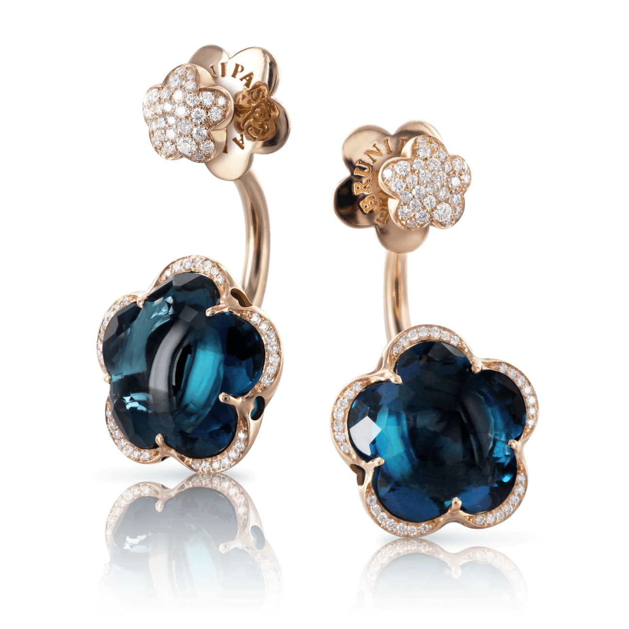 BON TON EARRINGS WITH LONDON BLUE TOPAZ AND DIAMONDS