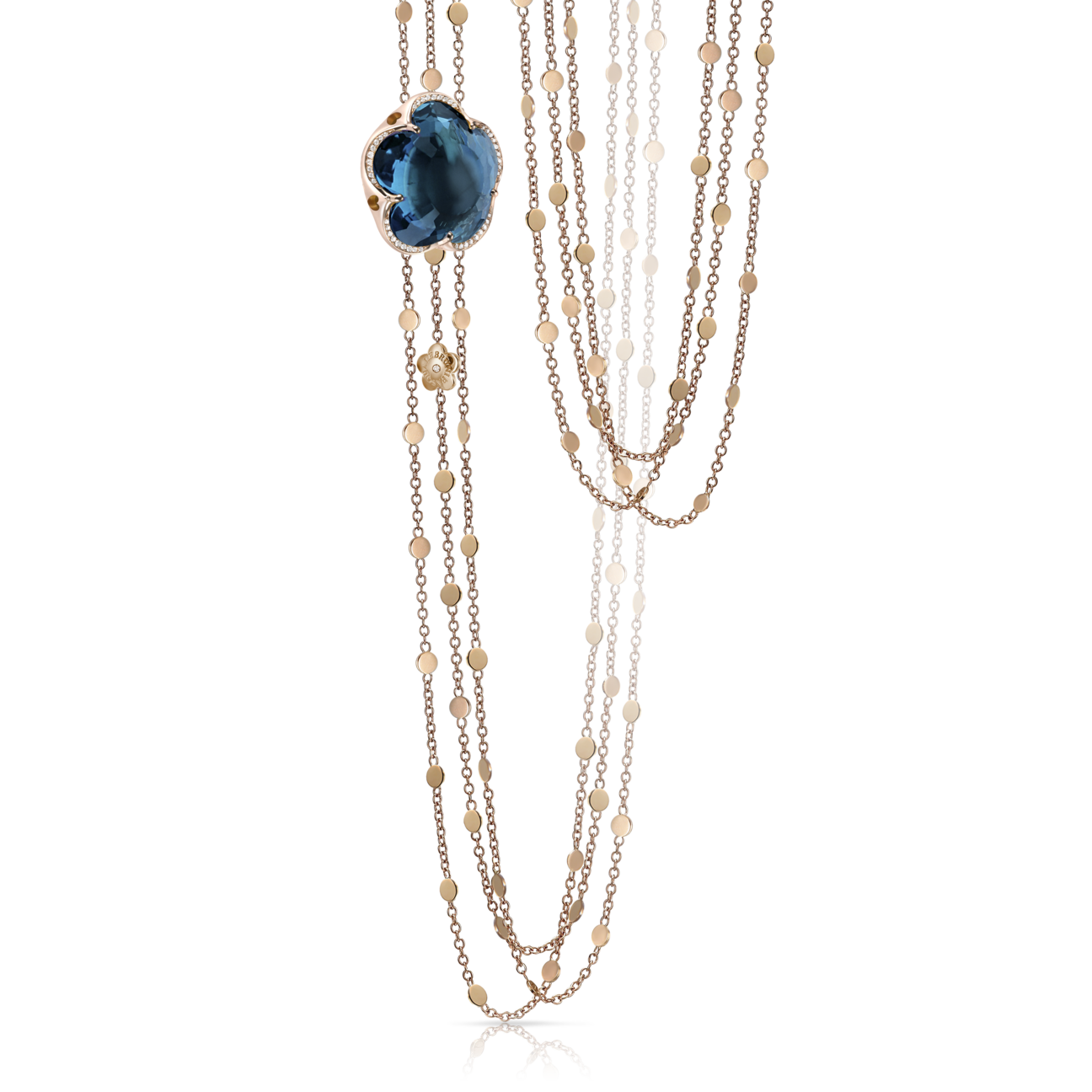 BON TON NECKLACE WITH LONDON BLUE TOPAZ AND DIAMONDS
