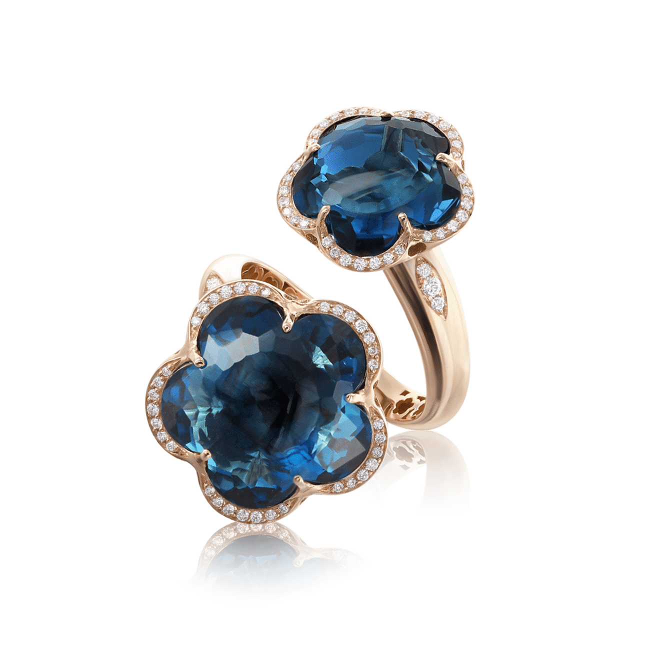 BON TON RING WITH LONDON BLUE TOPAZ AND DIAMONDS