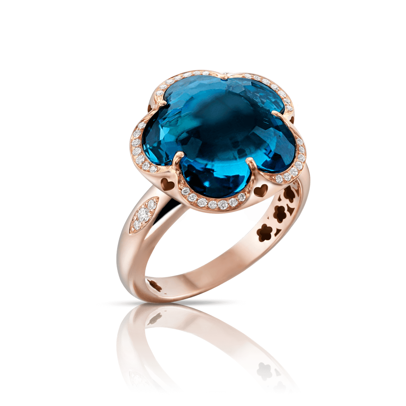 BON TON RING WITH LONDON BLUE TOPAZ 14mm