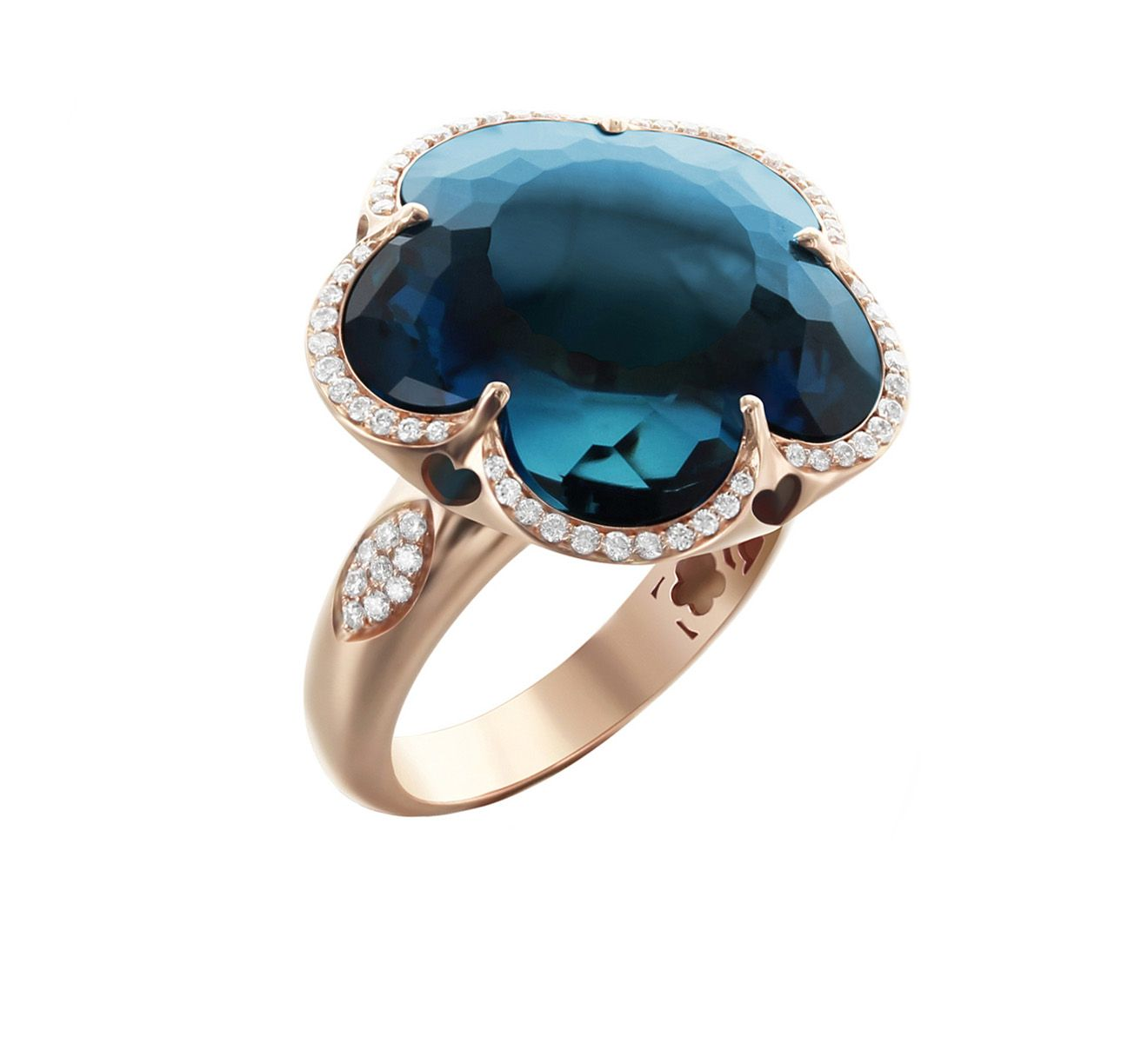 BON TON RING WITH LONDON BLUE TOPAZ 17mm