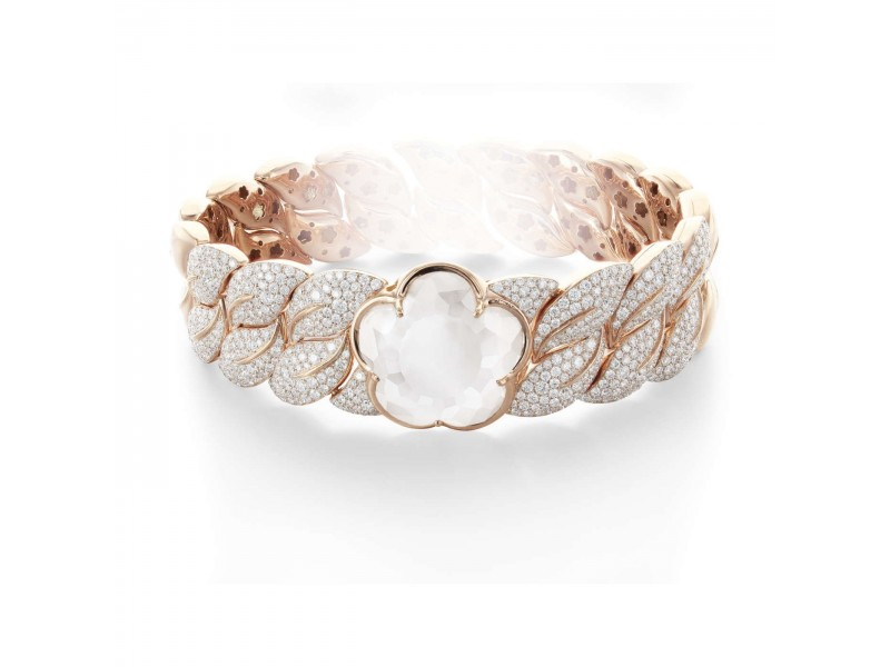 BON TON BRACELET WITH MILKY QUARTZ AND DIAMONDS