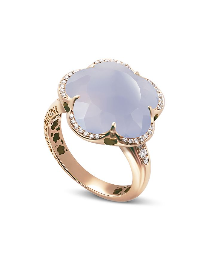 BON TON RING WITH LIGHT BLUE CHALCEDONY AND DIAMONDS 17mm