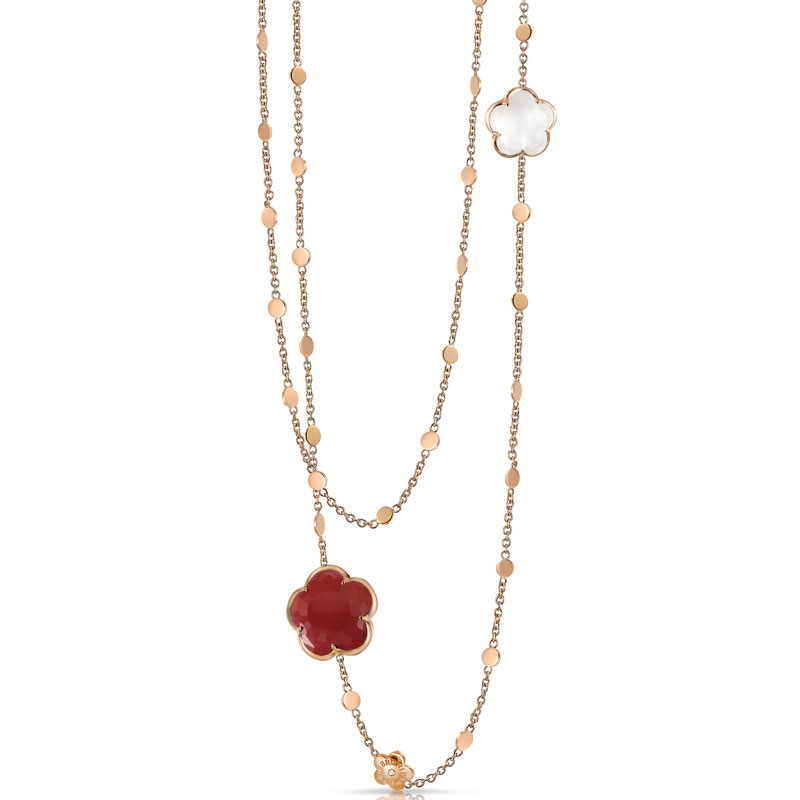 BON TON NECKLACE WITH CARNELIAN, MILKY QUARTZ AND DIAMONDS