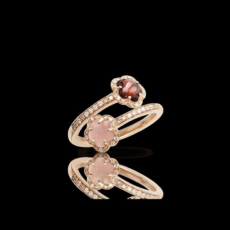 Ring Figlia Dei Fiori Pink Chalcedony, Red Garnet