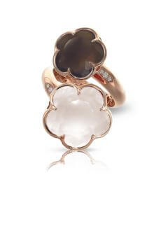 BON TON RING WITH SMOKY QUARTZ, MILKY QUARTZ AND DIAMONDS