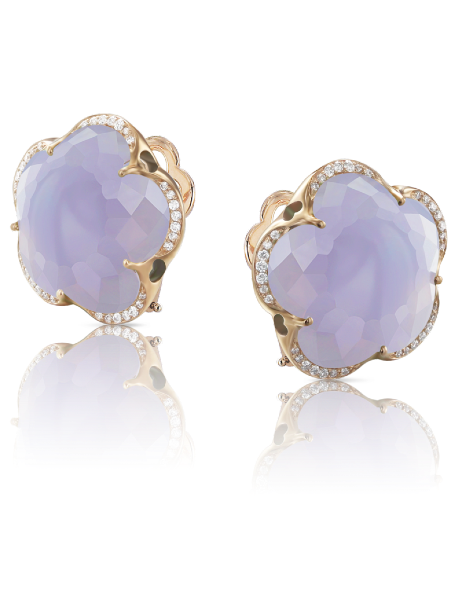 Earrings Bon Ton with Blue Chalcedony 14mm