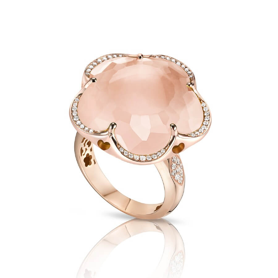 BON TON RING WITH ROSE QUARTZ AND DIAMONDS 22mm