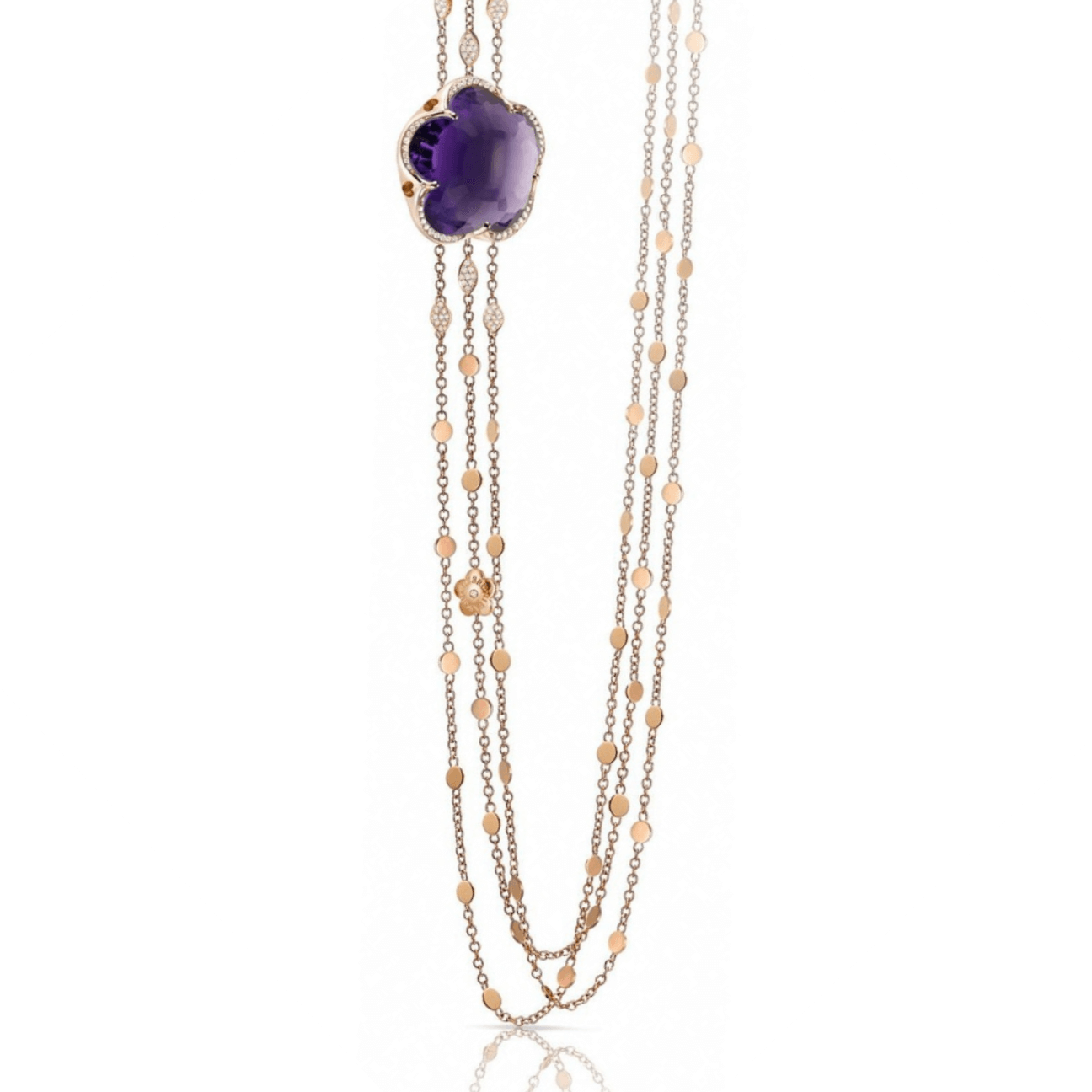 BON TON NECKLACE WITH DEEP VIOLET AMETHYST AND DIAMONDS 22mm