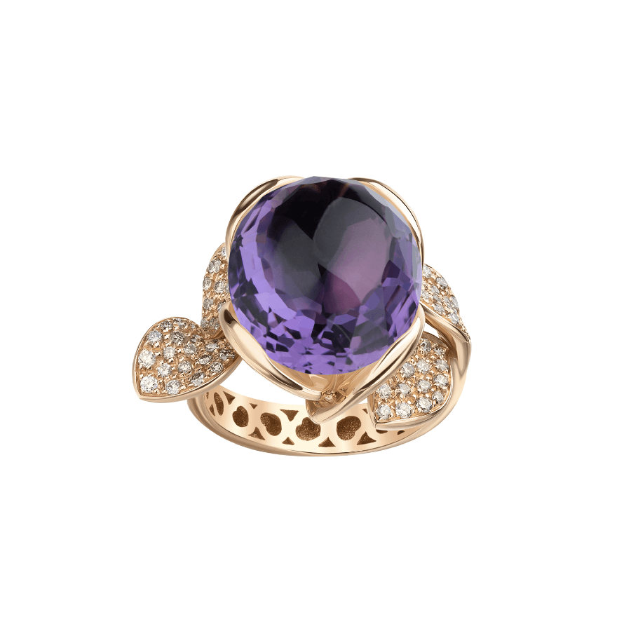 PETIT SECRET RING WITH AMETHYST AND DIAMONDS