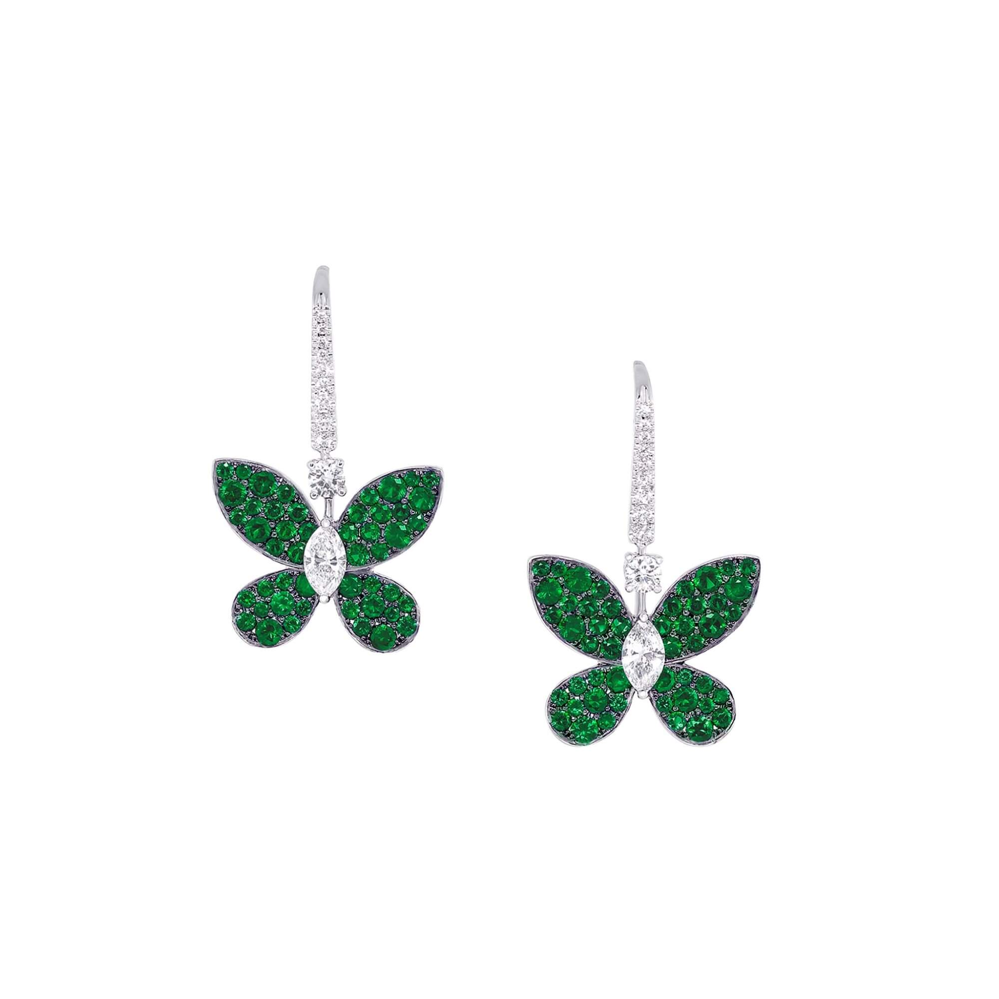 Earrings Pave Butterfy