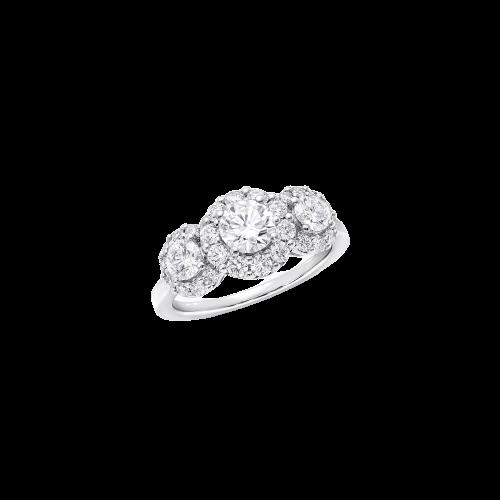 Icon Three Stone Round Diamond Engagement Ring