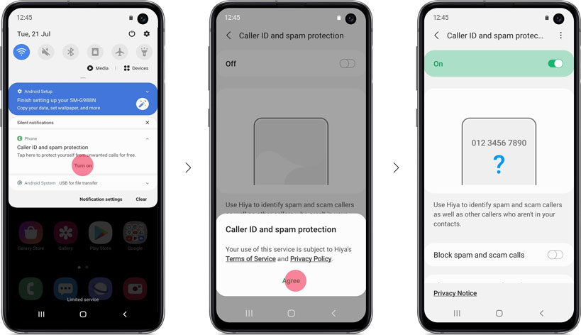 Activación de la llamada inteligente de Samsung a través de las notificaciones