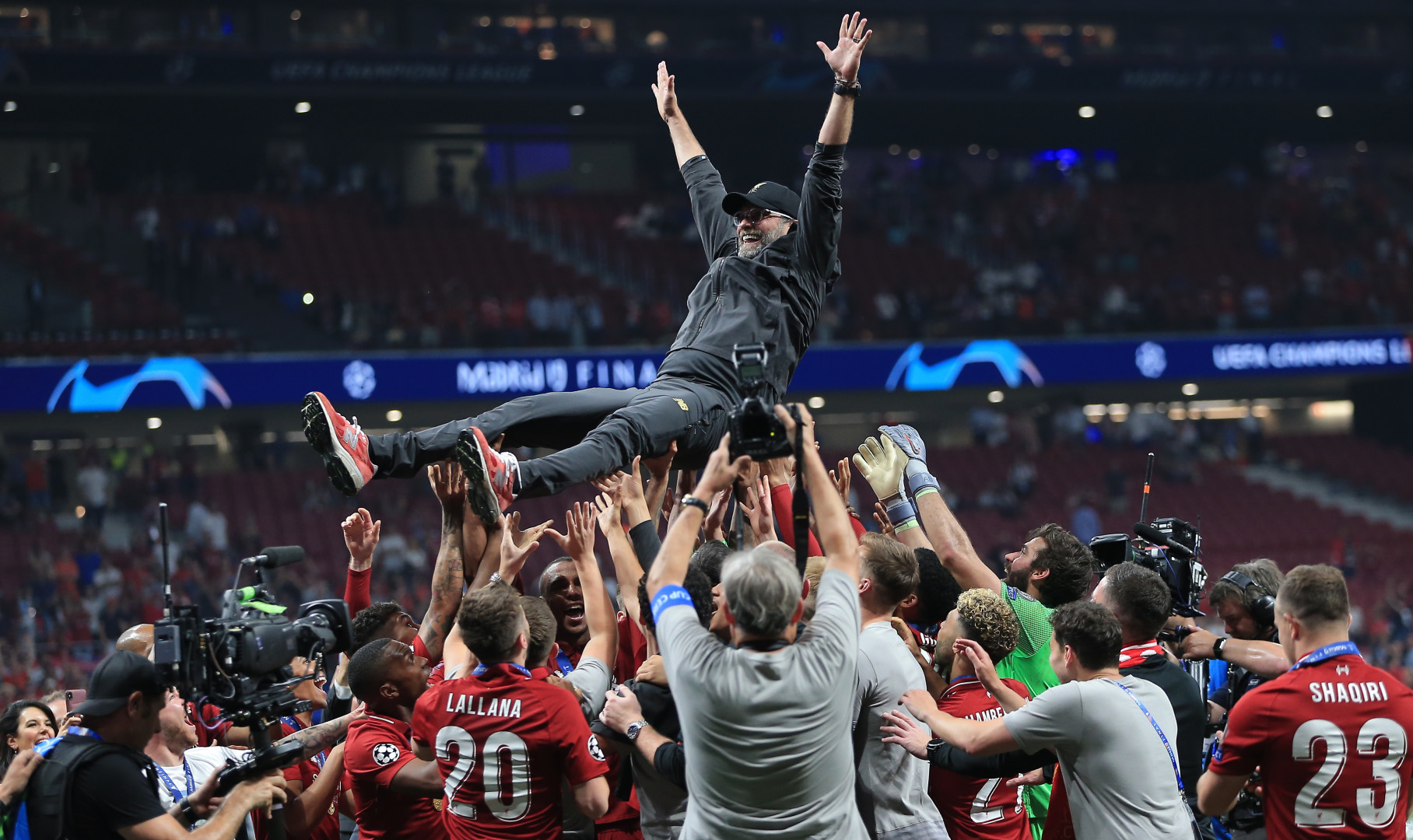 Liverpool Manager Jurgen Klopp is tossed in the air by his players after winning the Champions league (optimized)