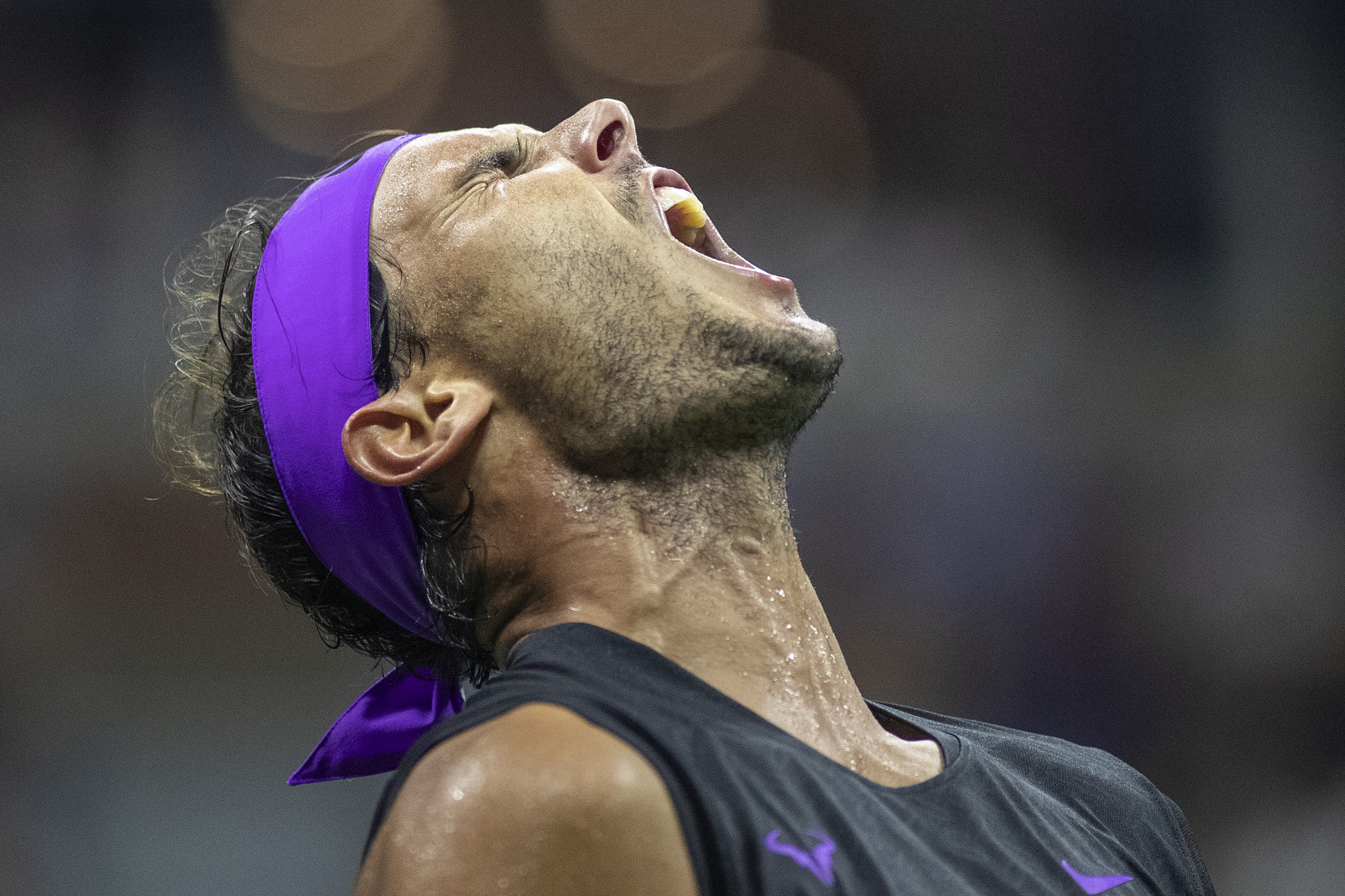 Rafael Nadal of Spain celebrates a point against Marin Cilic of Croatia in the Men's Singles round four match on Arthur Ashe Stadium during the 2019 US Open Tennis Tournament. (optimized)
