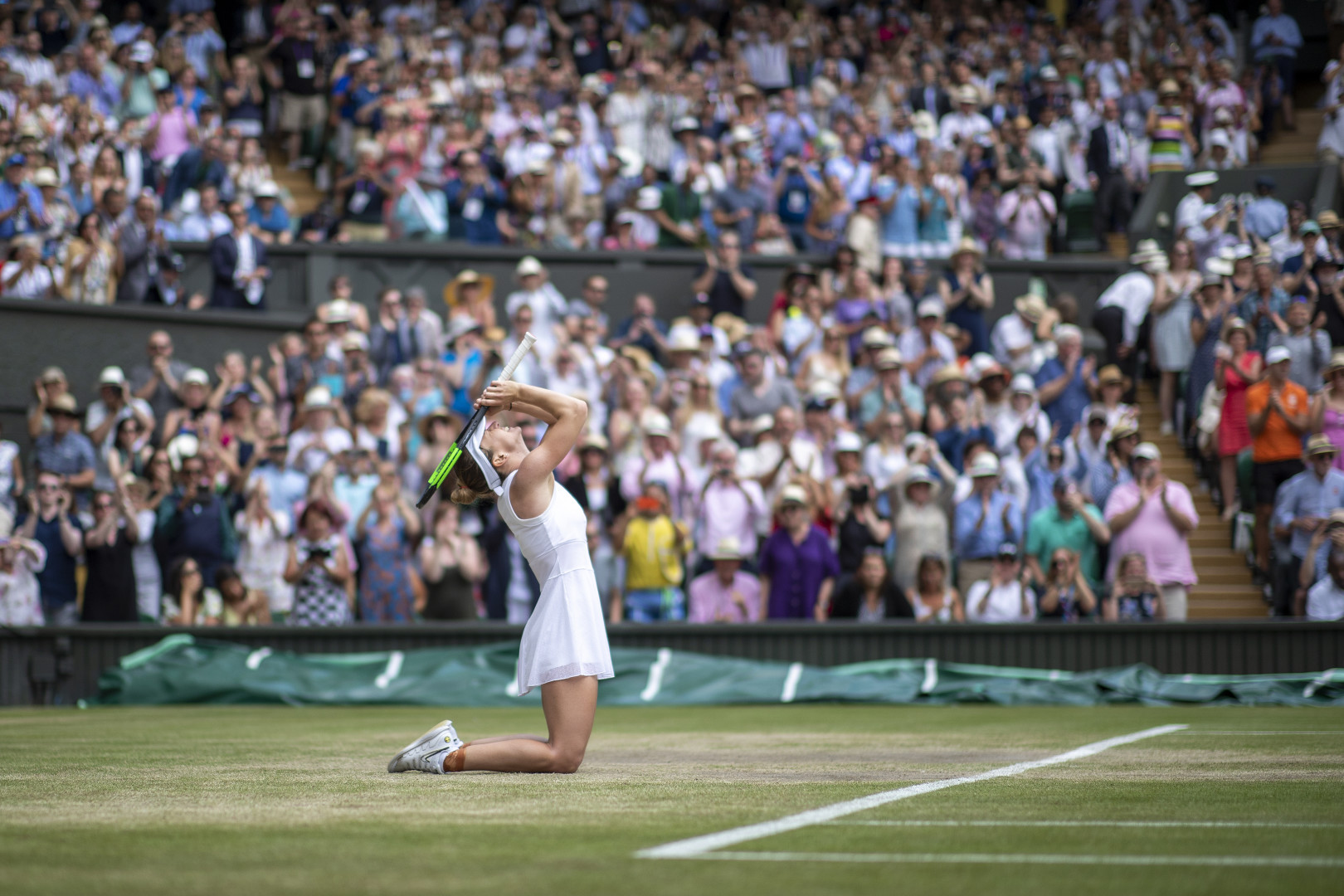 Simona Halep of Romania falls to her knees to celebrate her victory against Serena Williams of the United States during the Ladies Singles Final on Centre Court during the Wimbledon Lawn Tennis Championships (optimized)