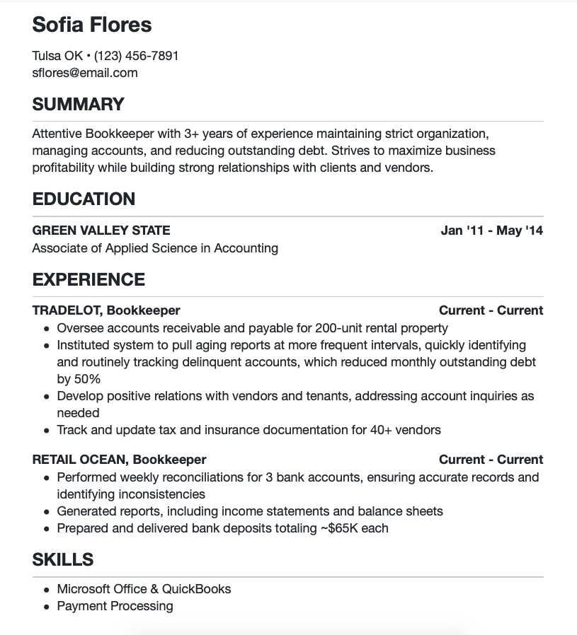 Sample Bookkeeper Resume from Indeed.com