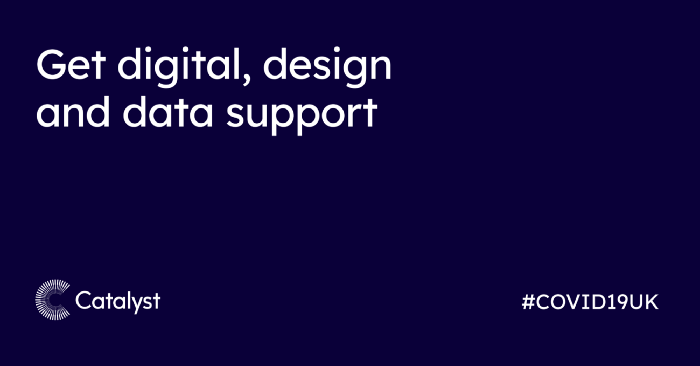 Graphic with text 'Get digital, design and data support'