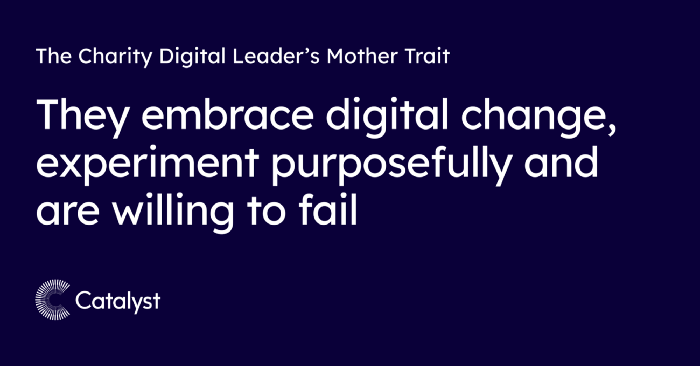 Header graphic with text 'The Charity Digital Leader's Mother Trait: They embrace digital change, experiment purposefully and are willing to fail'