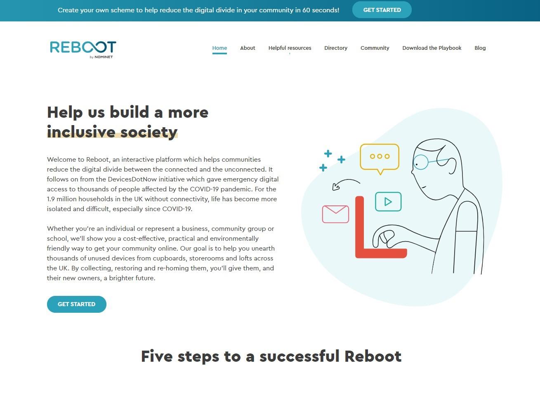 Image of the Reboot website homepage