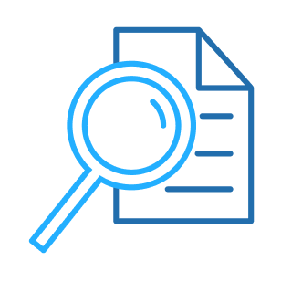 Icon: Magnifying glass and document