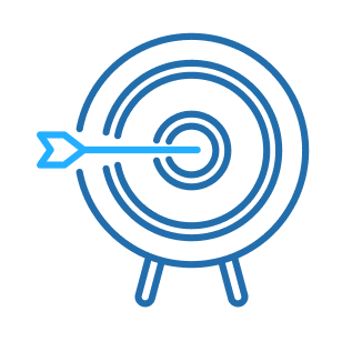 Icon: Arrow stuck in the bullseye of a target