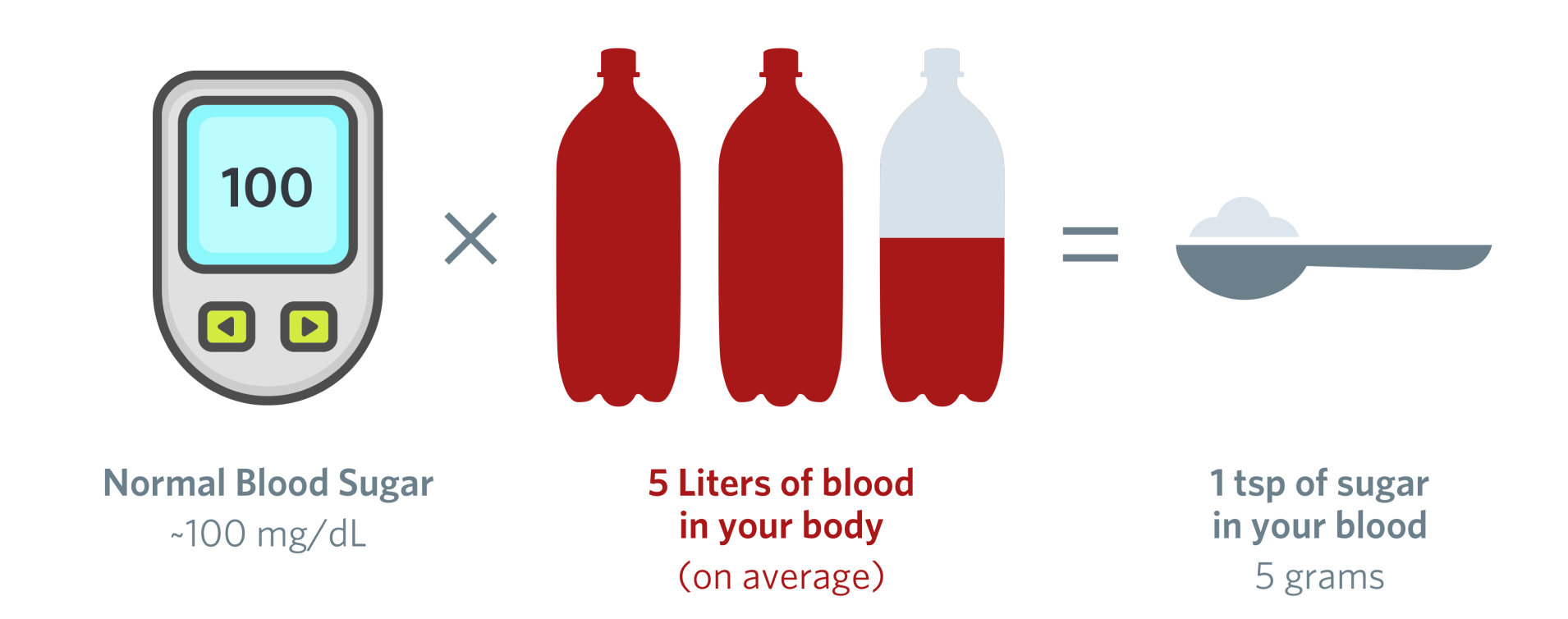 A diagram showing that there is on average 1 tsp of sugar in your blood at any given time