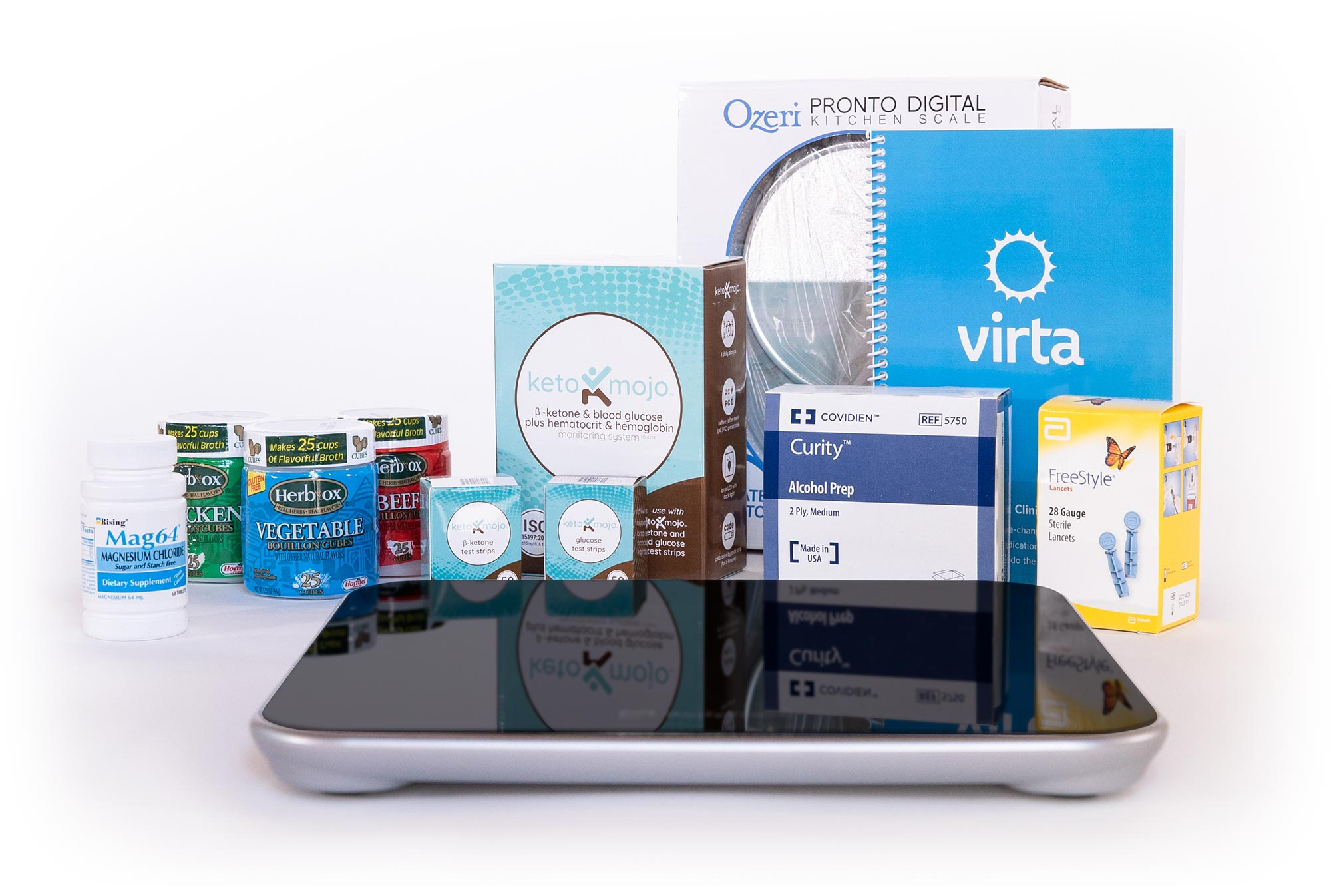 Virta starter kit contents on a white background