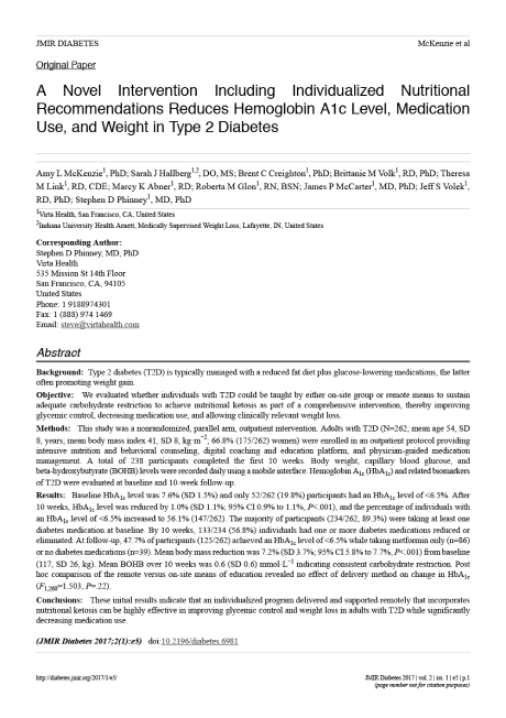 Cover of an academic paper: A Novel Intervention Including Individualized Nutritional Recommendations Reduces Hemoglobin A1c Level, Medication Use, and Weight in Type 2 Diabetes
