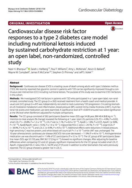 Cover of an academic paper: Cardiovascular Disease Risk Factor Responses to a Type 2 Diabetes Care Model Including Nutritional Ketosis at One Year: An Open Label, Non-Randomized, Controlled Study