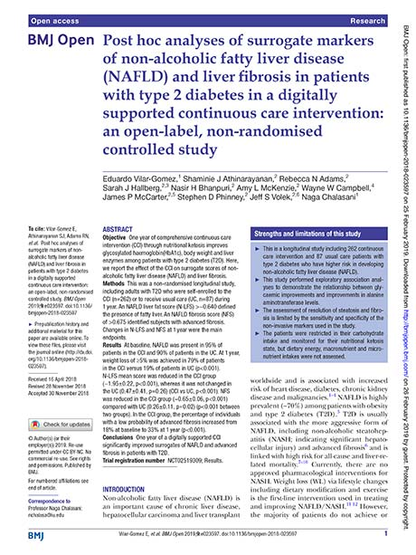 Cover of an academic paper: Post hoc analyses of surrogate markers of non-alcoholic fatty liver disease (NAFLD) and liver fibrosis in patients with type 2 diabetes in a digitally supported continuous care intervention: an open-label, non-randomised controlled study