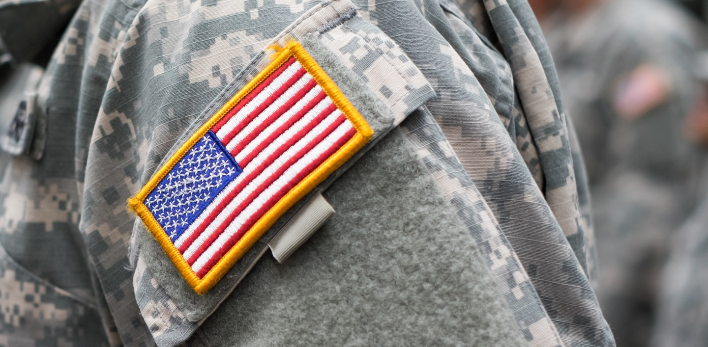 US military uniform with patch of USA flag on the sleeve