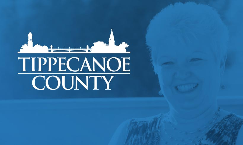 Tippecanoe County logo in the foreground; Virta patient in the background