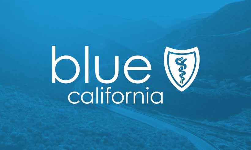 Blue Shield of California logo in the foreground; California landscape in the background