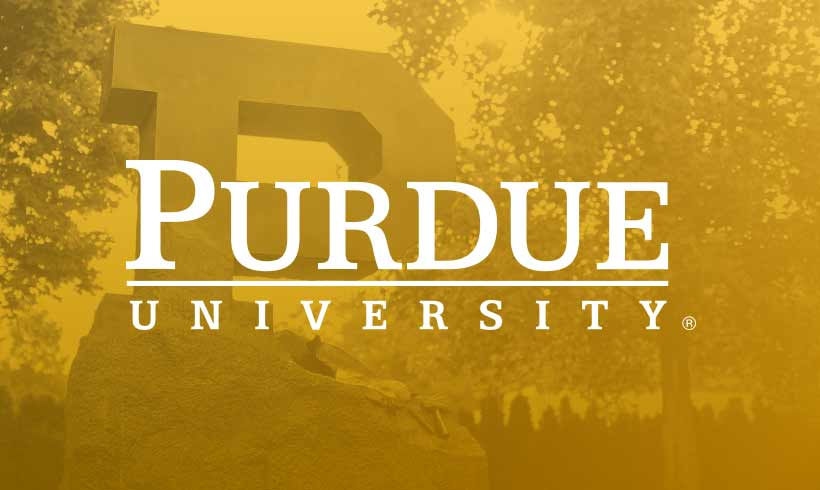 Purdue campus in the background with Purdue University logo on top
